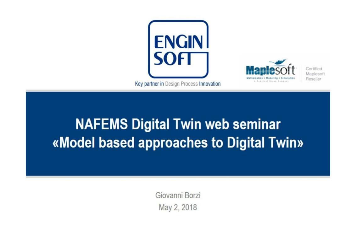 NAFEMS Digital Twin web seminar Model based approaches to Digital Twin